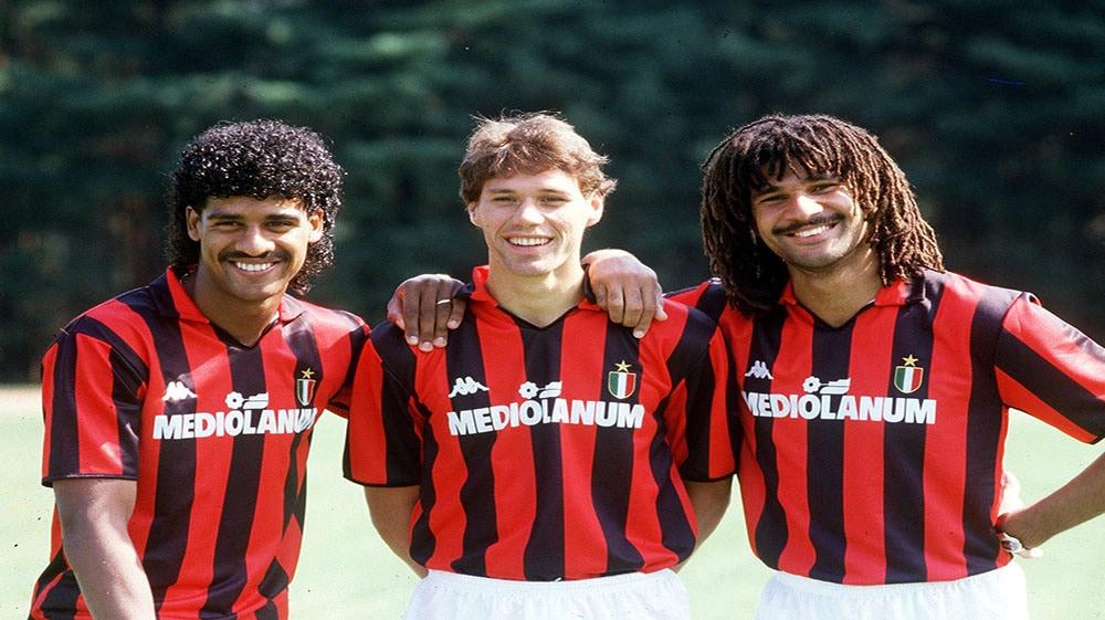 Ruud Gullit, Marco van Basten, Frank Rijkaard bij AC Milan