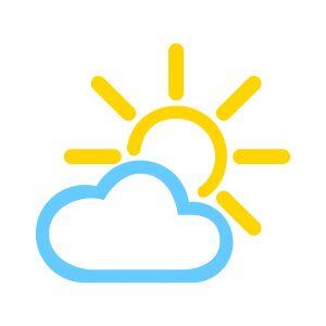 wolk zon animatie