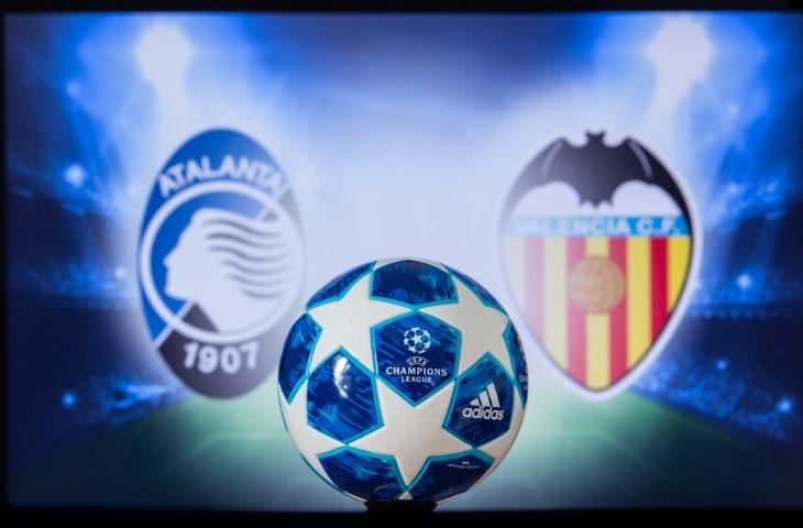 atalanta bergamo - valencia cf logo met champions league bal