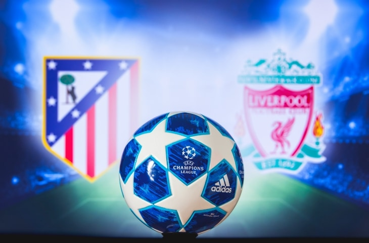 atletico madrid liverpool logo met champions league bal