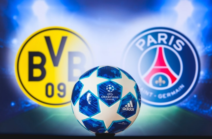 borussia dortmund paris saint germain logo met champions league bal