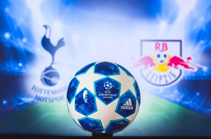 tottenham hotspur red bull leipzig logo met champions league bal
