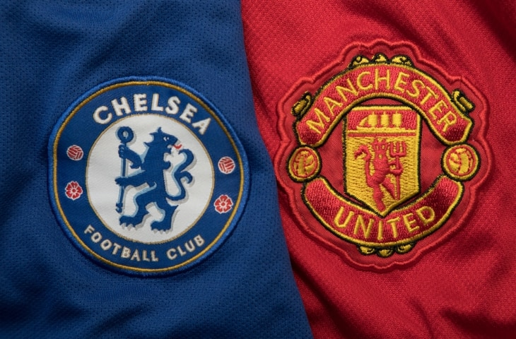 chelsea manchester united logo op shirt naast elkaar