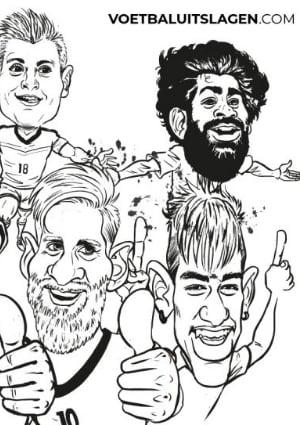 Kleurplaat bekende voetballers