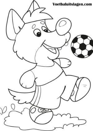 voetbal kleurplaat hond