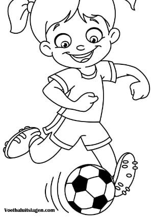 Voetbal kleurplaat meisje speler