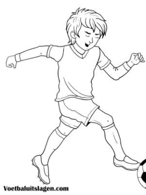 Voetbal kleurplaat jongen speler