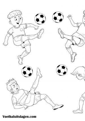 voetbal kleurplaat spelers