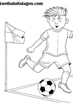 Voetbal kleurplaat jongen corner