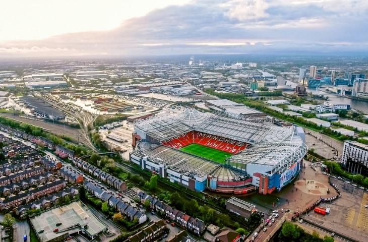 stadion old trafford manchester van bovenaf